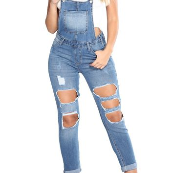 Light Blue Exposed Boyfriend Jean Overalls