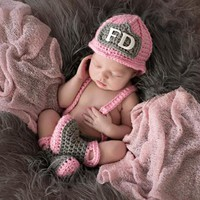 Newborn Baby Girl Fireman Firefighter Crochet Outfit Set