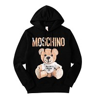 MOSCHINO Trending Women Men Stylish Letter Cute Bear Print Long Sleeve Hoodie Sweater Top Sweatshirt Black