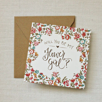 Will You Be My Flower Girl Floral Calligraphy Card