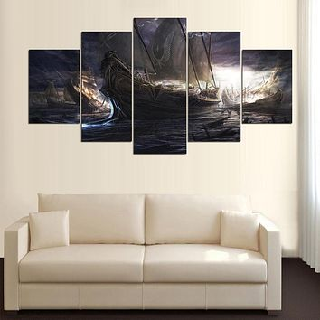 Modern Painting Modular Picture Cuadros Decoration Canvas Art Wall Decor For Living Room 5 Panel Boats Landscape Frames PENGDA