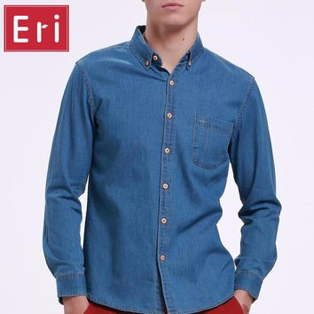 High Quality Fashion Jeans Shirt Long Sleeve Solid Casual Slim Fit Washed Denim Man Shirts Social Cotton Cowboy Clothes 3XL X116