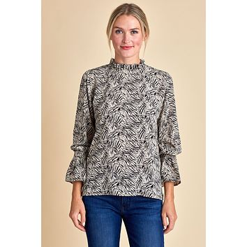 Veronica M Animal Print Ruffle Neck Bell Sleeve Top