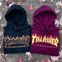 Men/Women sportswear Thrasher hoodie flame skateboard dead fly west hip-hop harajuku hooded fleece Thrasher THRASHER sweatshirt-1