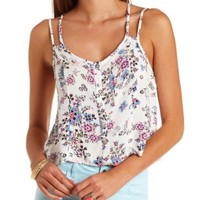 Strappy Floral Print Button-Up Crop Top - Ivory Combo