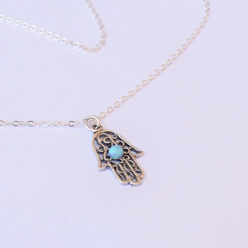 Silver necklace, Silver Hamsa necklace, Silver hand necklace, Delicate silver necklace, Silver hand with blue opal, Silver Hand pendant