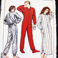 Simplicity Dr Denton One Piece Footed Pajamas Nightshirt Pattern Unisex Mens Womens Adult Footie Pajamas size 34 36
