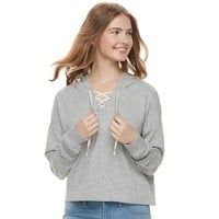 Juniors' SO® Cropped Lace-Up Hoodie | null