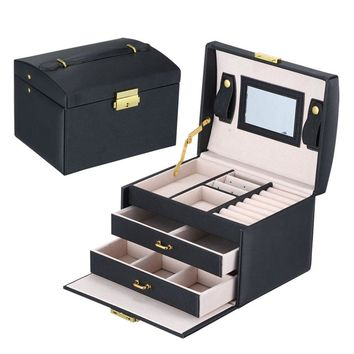 GENBOLI Makeup Carrying Case Jewelry Box 3 Layers 2 Drawers Gift Leather Organizer Holder Storage Casket Wedding Decoration New