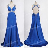 Beads Blue V-Neck Backless See-through Long Mermaid Celebrity Dress,Court Train Chiffon Formal Evening Party Prom Dress Homecoming Dress