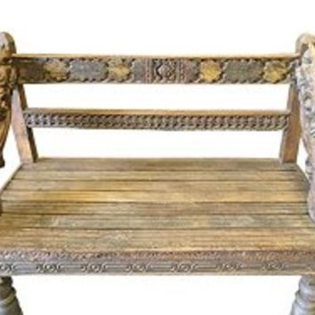 Antique Indian Teak Bench Hand Crafted Floral Rustic Accents India Furniture | Mogul Interior