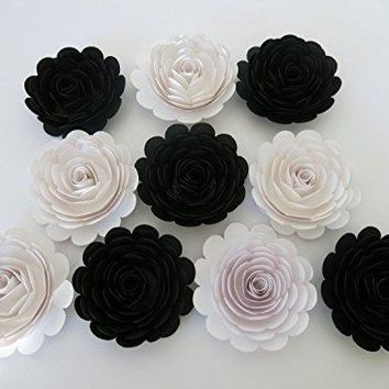 "10 Black and White Wedding Roses, Large Paper Flowers, 3"" Blossoms, Modern Bridal Party Bridesmaid Bouquet DIY, Elegant Centerpiece"