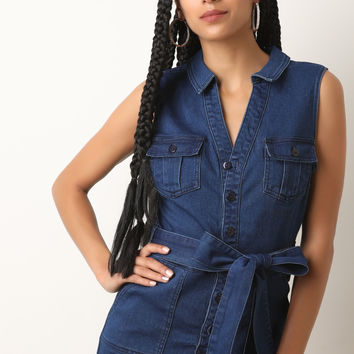 Button-Down Denim Jean Romper | UrbanOG