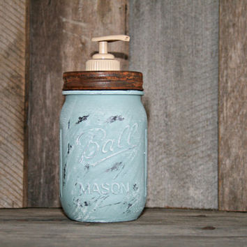 Mason Jar Soap Dispenser - Distressed, Shabby Chic, Country, Cottage Home Decor - Annie Sloan Chalk Paint