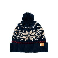 ASOS Fairisle Bobble Beanie Hat in Wool Blend - Blue