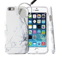 iPhone 6 Case, GMYLE Hybrid Case Slide for iPhone 6 (4.7 Display) - Marble Pattern Hybrid TPU Protective Hard Shell White Case