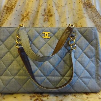 Authentic CHANEL Limited Ed MAXI GST Jean blue Grand Shopper Bag Purse T268