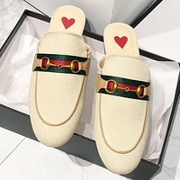 GUCCI New fashion stripe flip flop slippers shoes