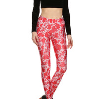 Red Floral Lace Leggings