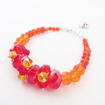 Red Ladybug Bracelet - Swarovski Elements Silver Lady Bug Charm - Red Crystal Bracelet - Yellow Orange Red Bracelet - Beaded Strand Bracelet