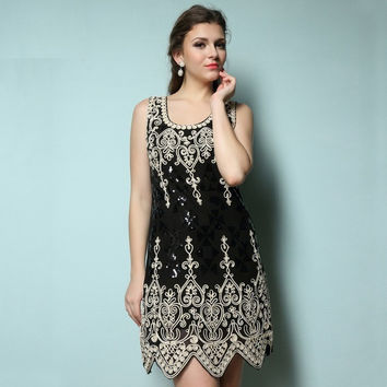 Elegant women sequin embroider Dresses Black floral heart patern vintage dress great gatsby flapper 1920's party dress