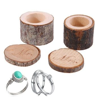 2 pcs Mr&Mrs Wood Ring Box for Wedding Valentines Anniversary Gift Box Ring Jewelry