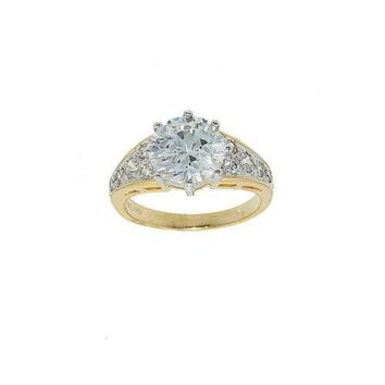 Classic Low Set Cubic Zirconia Solitaire Two Tone Fashion Ring with Pave Set Sides