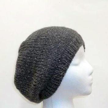 Gray beanie beret hat mens hats or womens hats hand knitted  5030