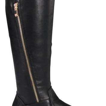Black Vegan Leather Boot with Zipper Design