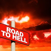 'Road to hell sign' Poster by steveball