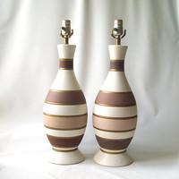 vintage pair ceramic table lamps stripes striped neutral cream brown tan gold mid century modern retro decorative home decor lighting light
