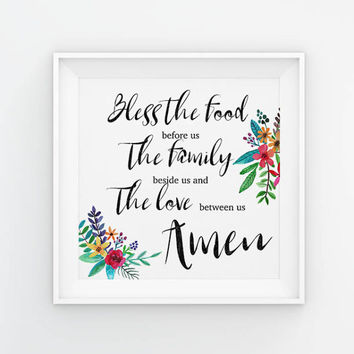Bless the food before us, the family beside us, and the love between us, Amen Printable, Wall Art, Dinner Prayer, instant download, digital
