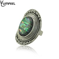 Yumfeel Bohemia Vintage Jewelry Rings for Women Zinc alloy with Shell Rings Women Boho