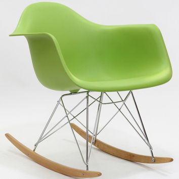 Mid Century Modern Plastic Molded Rocking Chair Green