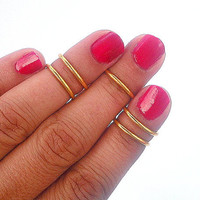 5  Gold Band Rings - Above the Knuckle Rings -  Gold   Above Knuckle Ring  - Set of 5 - Gift Under 20 by Tiny Box