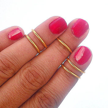 5  Gold Bands Rings - Above the Knuckle Rings -  Gold   Above Knuckle Ring  - Set of 5 - Gift Under 20 by Tiny Box