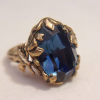 Vintage W. Germany Blue Glass Ring Sapphire Ribbon Gold Tone Adjustable Jewelry Fashion Statement Accessories