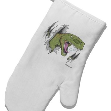 Green Dinosaur Breaking Free White Printed Fabric Oven Mitt by TooLoud