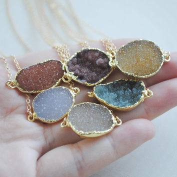 Druzy Pendant Necklace, Pendant Druzy Necklace, Geode Druzy Necklace, Geode Jewelry
