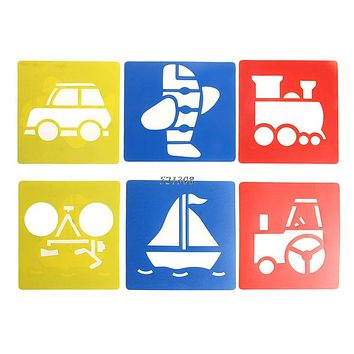 Children Transport Shaped Plastic Painting Drawing Template Stencil Kids Toy