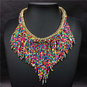 Beads Tassel Bib Necklace