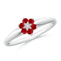 Classic Ruby and Diamond Six Petal Flower Ring