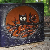 Leather wallet, Owl, Moon, Shadow owls, Night and stars, Hand Made, Credit card wallet, biker wallet, carved wallet, hand-tooled wallet