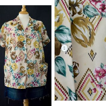 Vintage Floral Blouse, Button Up Haband Blouse, 60s Floral Blouse, Watercolor Floral Shirt, Plus Size Fashion, Shirt with Pockets, Boho Chic