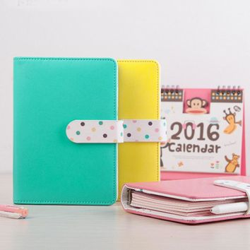 AGIE Cute Leather Notebook Kawaii Colorful  A6 Spiral Planner Agenda School/Office Ring Binder Personal Filofax Diary Sketchbook