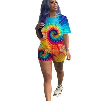 women new summer black hole tie dye 3d print short sleeve o-neck t shirts & shorts suit two piece set sporty tracksuit GLLQ5047