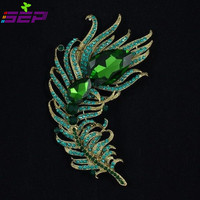 New Vintage Style Drop Crystal Rhinestone Brooches Green Peacock Feather Broach Pins for Women Jewelry 5038