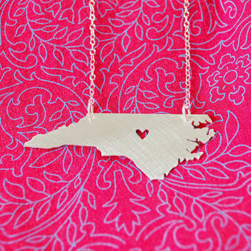 Heart of North Carolina-Recycled Silver Necklace