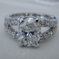 3.02ct Oval Diamond Engagement Ring F-SI1 JEWELFORME BLUE  EGL Certified