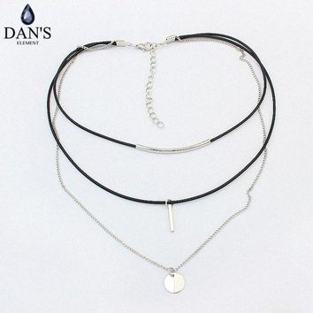 ac VLXC DAN'S New Fashion Retro Geometric star Pendant Collar Double chains leather simple choker necklace gift for women girl 122766